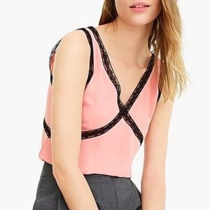 JCrew blush with black lace accent v neck tank NWT